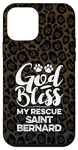 iPhone 12 mini God Bless My Rescue Saint Bernard Leopard Print Dog Paw Gift Case