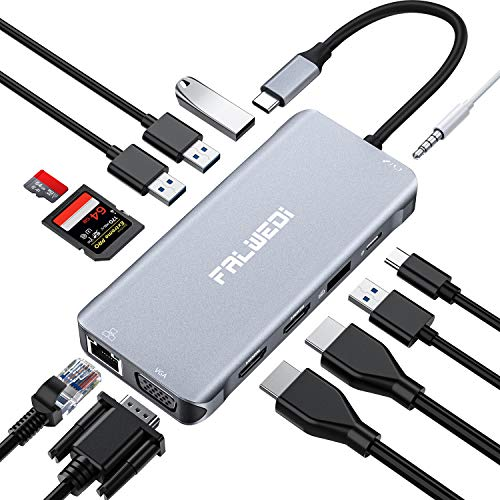 Falwedi Triple Display 12 in 1 USB C Hub with 2 HDMI & VGA, PD3.0, Ethernet, SD TF Card Reader, 4 USB Port, Mic/Audio, Type C Adapter Docking Station Compatible for MacBook Air Pro and More