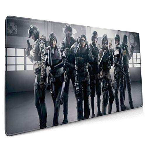 Asuuats Anime Rainbow Six Siege Large Gaming Mouse Pad, with Non-Slip Rubber Base Mouse Pad 15.8 X 35.5 Inch, Stitched Edges Durable Desk Accessories