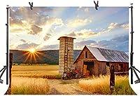 Zhyファーム納屋背景7X5FTアメリカの素朴なカントリーキャビン草原サンシャイン誕生日テーマパーティー屋外パーティー写真背景写真スタジオブース小道具997