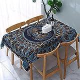 Mantel Escarabajo Egipcio Escarabajo Dorado y Azul mármol mesas rectangulares Reutilizables Cubierta de Comedor Cubierta de Mesa de poliéster 137X183CM