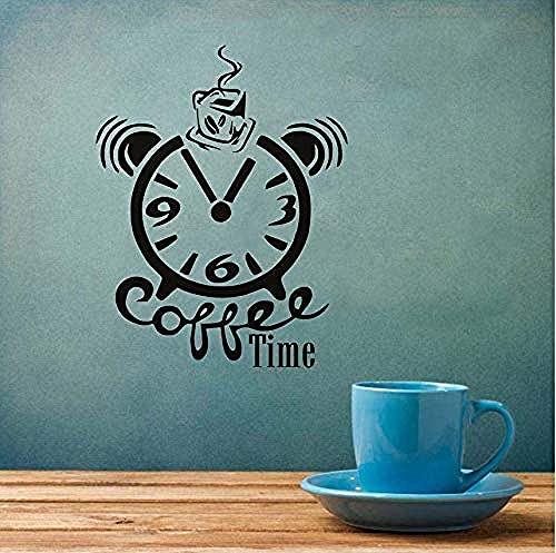 Pegatinas De Pared Reloj De Café Calcomanías De Pared Pvc Decoración Creativa Decoración Del Hogar Pintura De Pared 46X59Cm