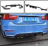 XBXDM Borde del Difusor Trasero De Carbono para BMW Serie 3 F80 M3 Sedan 4 Serie F82 F83 M4 Coupé Cabrio 2014-2019 3Pcs / Set