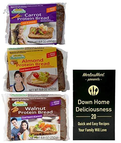 Mestemacher Natural Protein Bread 3 Flavor Variety (1) each: Carrot, Almond, Walnut (8.8 Ounces) Plus Recipe Booklet Bundle