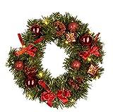 Idena Corona de Navidad con 10LED, 30cm, Funciona con Pilas, Temporizador, Deko Rojo