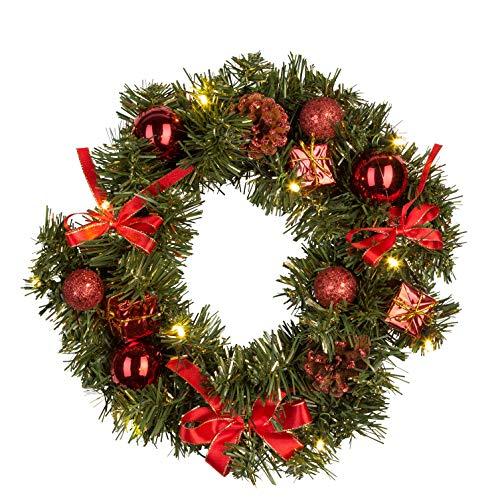 Idena 30138 - Weihnachtskranz mit 10 LED warm weiß, mit 6 Stunden Timer Funktion, Batterie betrieben, für Deko, Weihnachten, Advent, als Stimmungslicht, Türkranz, ca. 25 cm
