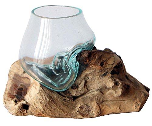 Geschenk Deko Gamal Wurzelholz B-Ware Glasvase Ø Glas 11-12 cm Wurzel Holz Teakholz Vase Glas SS
