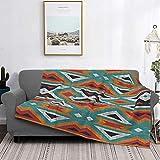 Manta de forro polar ultra suave para decoración del hogar, manta cálida de franela antipilling para sofá, cama, campamento de 156 x 150 cm, azul turquesa, rojo, naranja, mosaico tribal nativo