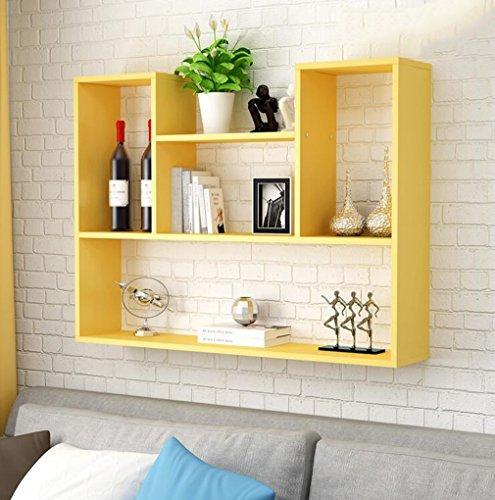 Creativo Mensola a muro Soggiorno Camera da letto Cucina Pensile Mobile Semplice TV sfondo muro decorativo cornice decorazione della parete ( Colore : Giallo , dimensioni : 100-60*15cm )