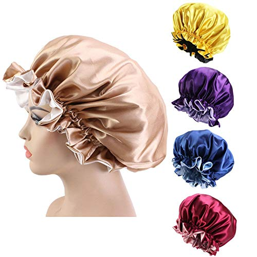 QCLU Satin Boner Reversible Night Night Sleep Pap Chemo Caps for Women Girl Durmiente, Cubiertas Grandes de Cabeza de Doble Capa for Accesorios for el Cabello de la Primavera rizada, Paquete de 5