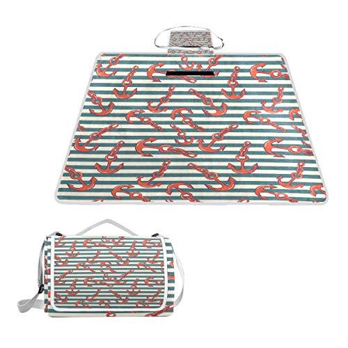 TIZORAX Picknickdecke mit Anker auf Streifen, wasserdicht, faltbar, für Strand, Camping, Wandern, Rot