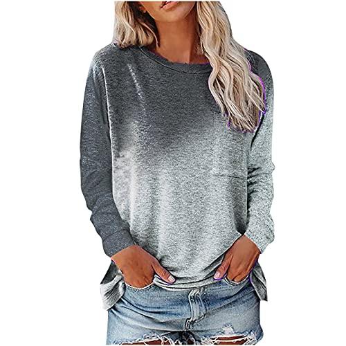 Wave166 Blusa de mujer con degradado de color, tops informales, camisa con bolsillos, moda casual, ropa de ocio, cuello redondo, manga larga, ropa deportiva para mujeres, gris, XXL