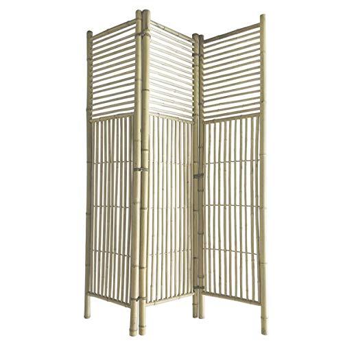 Deco Line Biombo biombo de bambú de 3 piezas, 180 cm