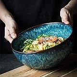 sknonr Retro Creativa de cerámica de gres Vajilla Plato de Sopa de Verduras Take Recipiente Grande del Cuenco de Fruta de Frutas hogar Ensaladera 22.5CM