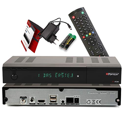 Red Opticum AX Atom 4K UHD digitaler Satellitenreceiver mit PVR Aufnahmefunktion - alphanumerisches Display / HDMI / 2X USB 2.0 / RJ45 LAN-Ethernet Port / Coaxial Audio Out / 12V Netzteil, schwarz