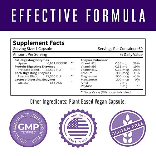 Lipase Enzymes for Liver Detox & Fat Digestion by MaryRuth's - Digestive Enzymes Supporting Healthy Cholesterol Levels and Nutrient Absorption - Vegan Lipase Protease Supplement - 60 Count