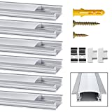 Perfil de Aluminio, Jirvyuk 5 Pack 1 m/3,3 ft Perfil de Aluminio LED para Luces de Tira del LED con Cubierta Blanca Lechosa, Los...
