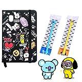 BTS Notebook with Pens | BTS School Supplies, Cartoon BTS Journal Notebook, BTS Pen for School | Pocket Size, Hardback Cover Book, Ballpoint Pen - eKoi BTS Merchandise for Army (CHIMMY KOYA Set)