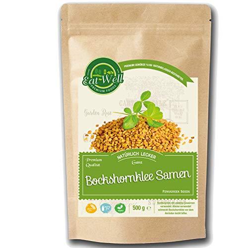 Bockshornklee Samen ganz (500g) | Bockshornklee-Saat • Fenugreek Seeds Whole ( Methi Seeds )| Für Gesunde Küche und Bockshorn-Tee I Rohe & Ganze rein - natürliche I Eat Well Premium Foods