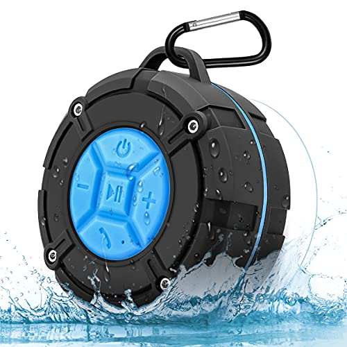 Annlend Shower Speaker Bluetooth Waterproof IPX7 Portable Wireless Water-Resistant Speaker Suction Cup & Hook, Built-in Mic, Speakerphone Bathroom Outdoor Beach Travel Hiking Bike Home Party - (Blue)
