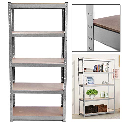 Heavy Duty Galvanised 5 Tier Garage Shed Storage Shelves Shelving Units Metal Boltless Industrial Racking Rack, 150cm x 70cm x 30cm, 875KG Capacity,Used Like New