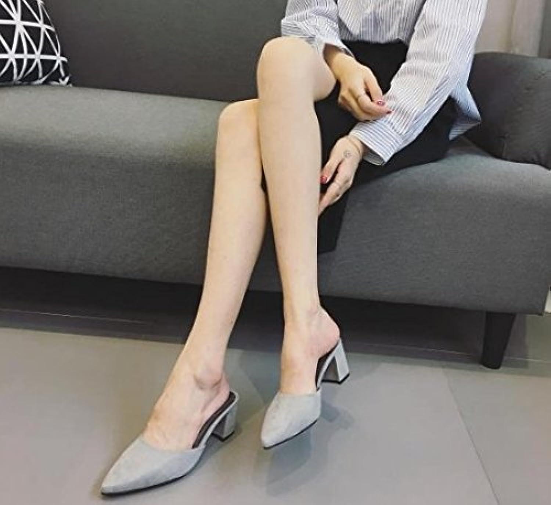 HhGold Frauen Flip-Flops Sommer Baotou High Heel Dick mit Spitze (Farbe   Grau, Größe   5.5 US 35.5 EU 3 UK)