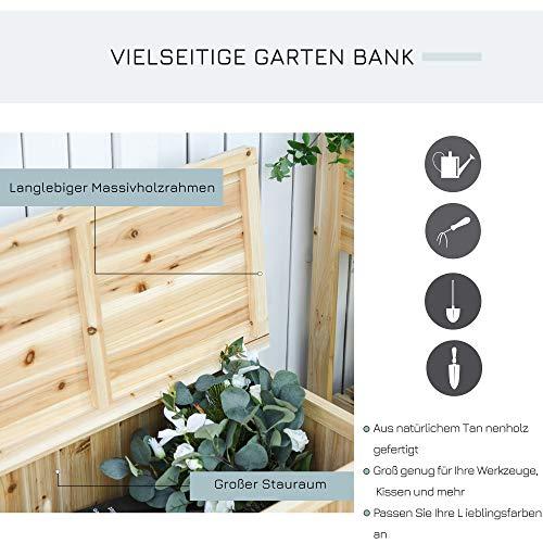 Outsunny Gartenbank mit Stauraum Truhenbank Sitzbank 2-Sitzer 250 kg Belastbarkeit Natur Tanneholz 115 x 45 x 75 cm - 5