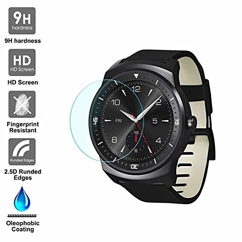 KAIBSEN LG G Watch R Sport Smart Watch 2.5D gehärteter Glasschirm Schutz, HD Clear Glass Film No-Bubble, 9H Härte, Kratz Widerstand