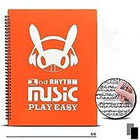 ミュージックスコアフォルダーA4サイズミュージックスコアボックス直筆デザインミュージックスタンド優れた収納容量ライティングリングフォルダー会議資料20/30ページブラック (30ページ,オレンジ色)