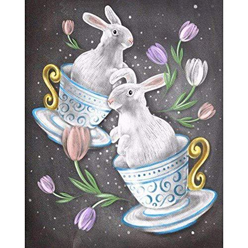 XADITON Abstrakte Kunst Tasse Kaninchen Malen nach Zahlen, DIY Ölgemälde Leinwand 40x50 cm Druck Wandkunst Dekoration Ohne Rahmen