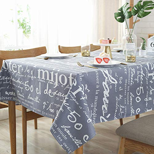 HTUO Home Decoration Tablecloth Washable Table Cover Christmas Decoration Retro Gray Tablecloth Cotton Canvas Multi Purpose Towel Buffet Decoration Living Room Outdoor 140 * 200cm