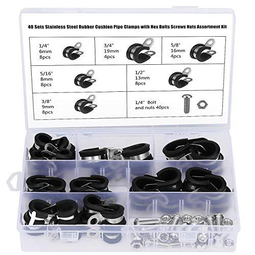 WiMas 40 Stück Edelstahl Gummiert Kabelschelle, P-Klammer, Gummi-Schlauchschelle, Mit Sechskantschrauben Schrauben Muttern, 6 Größe