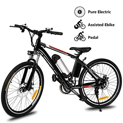Yiilove Electric Bike for Adult 26'' Mountain Electric Bicycle Ebike 36V Removable Lithium Battery 250W Powerful Motor 21 Speed (Dark Black)