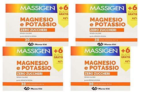 4 x Massigen Magnesio Potassio Zero Zuccheri 30 Buste con Vitamine Stanchezza e Affaticamento