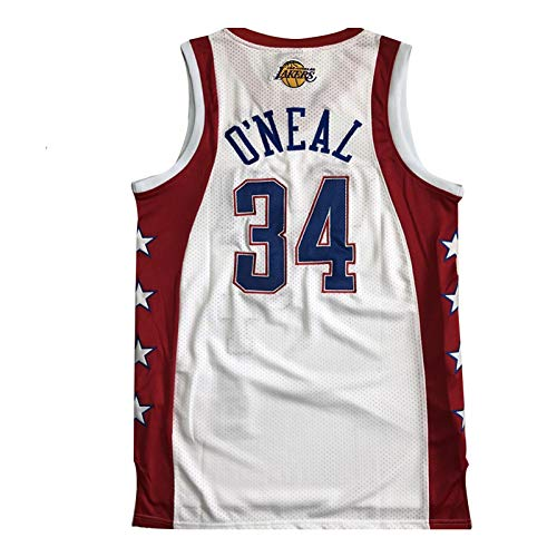 # 34 Baloncesto Lakers Baloncesto O'Neal Jersey, Ventiladores de Shaq All-Star Shaq para Hombre Bordado Camiseta de Malla Transpirable, Blanca S-XXL. L