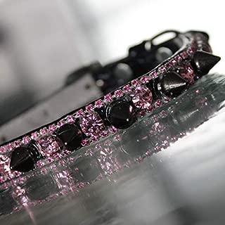 Cat Collar, Pop Pop Rock Black Spike and Pink Topaz Collar Pop Rock Collar - Rihanna Inspired Dog Jewelry Collar, Rockstar Pet Collars TM, Sizes XS-S, USA
