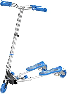 WYFDM Niños 3 Ruedas Speeder Plegable Scooter Tri Slider con Alas Push Motion, Diseño Plegable Manija Ajustable,Blue