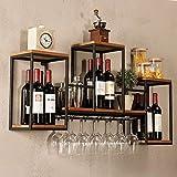 Botellero industrial retro de madera, estantería de pared de hierro, armario para climatización,...
