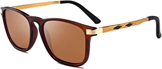LUKEEXIN Classic Metal Full Frame Men's Sports Sunglasses Durable Polarized UV400 Protection Driving Cycling Running Fishing Golf (Color : Brown)
