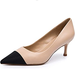 Lutalica W Escarpins à bout pointu en cuir mat confortable à enfiler bicolore pour femme