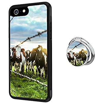 Case for iPhone 6s 6 case Milky Cow With Ring Holder Slim Soft and Hard Tire Shockproof Protective Phone Cover Case Slim Hybrid Shockproof Protective Case Anti-Scratch Cushion Bumper with Reinforced C
