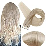 Fshine 14 Inch Tape in Hair Extensions Human Hair Ombre Balayage Color 18/60 Blonde Remy Straight Hair Tape Ins 20 Pieces 50 Gram