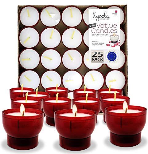 Hyoola Velas votivas sin perfume – Copa de plástico rojo – 7 horas – 25 unidades – fabricado en Europa