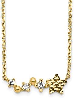 Collana da donna in oro 14 kt con ciondolo a forma di stella e zirconia cubica