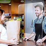 クリアなくしゃみガードシールド 安全スクリーン保護 スプレー防止デスクディバイダー ポータブルプラスチックスクリーン オフィス デスク レセプション用 20x24インチ