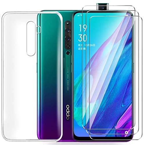 HYMY Hülle für Oppo Reno 2Z Smartphone + 3 x Schutzfolie Panzerglas - Transparent Schutzhülle TPU Handytasche Tasche Durchsichtig Klar Silikon Case für Oppo Reno 2Z -Clear