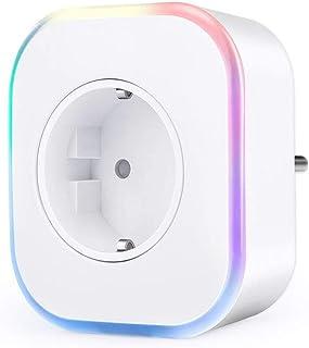 Enchufe Wifi, Hedynshine Enchufe Inteligente con USB, Control Remoto/Mando de Voz, Compatible con Google Home/Amazon Alexa/Android/IOS, Luces de Ambiente Colorido, Temporizador Enchufe
