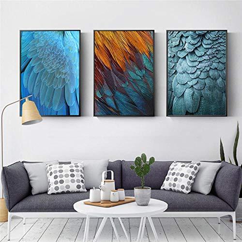 Arte de pared de pluma verde y azul 3 paneles decoración de sala de estar pintura en lienzo artículos de decoración del hogar 40x60cmx3 sin marco