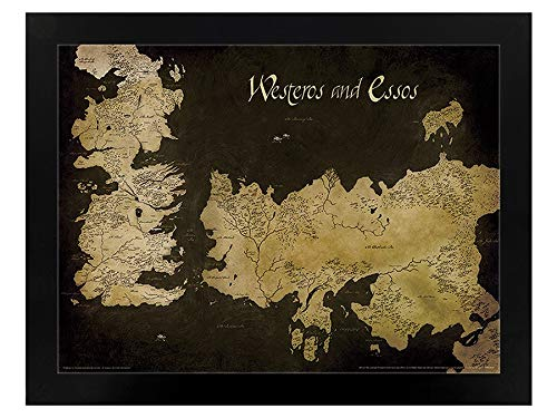 Piramide International Game of Thrones (Westeros en Essos Antique Map) Ingelijste Print Memorabilia, Multi-Colour, 30 x 40 x 1,3 cm
