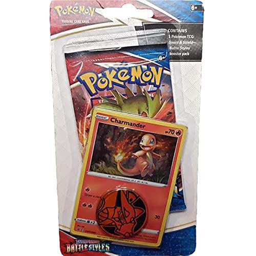 Pokemon Espada vs Escudo: sobre Battle Styles + Carta Charmander + Moneda Coleccionable en su Blister Sellado. Cartas en...